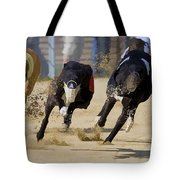 Battle Of The Racing Greyhounds At The Track Tote Bag