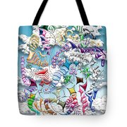 Battling Kites -- Blue Tote Bag