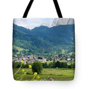 Bavarian Alps With Village And Flowers Tote Bag