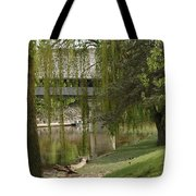 Bavarian Covered Bridge Over The Cass River Frankenmuthmichigan Tote Bag