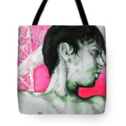 Bay Bridge Anf Figure In Red Tote Bag by Rene Capone