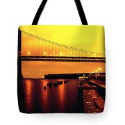Bay Bridge Black And Orange Tote Bag