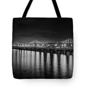 Bay Bridge San Francisco California Black And White Tote Bag