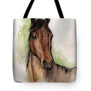 Bay Horse Portrait Watercolor Painting 02 2013 Tote Bag
