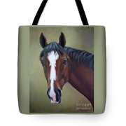 Bay Thoroughbred Horse Portrait Ottb Tote Bag