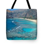 Beach And Haunama Bay, Oahu, Hawaii Tote Bag