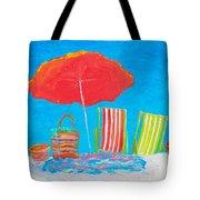 Beach Art - The Red Umbrella Tote Bag