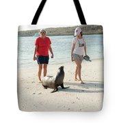 Beach  At Santa Fe Island In Galapagos Tote Bag