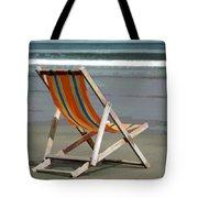 Beach Chair And Ocean Stripes Tote Bag