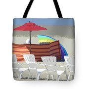 Beach Chairs Tote Bag by Lori Seaman