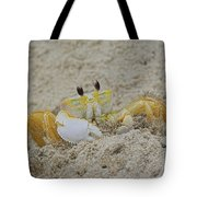 Beach Crab In Sand Tote Bag