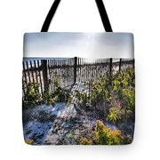 Beach Flowers Before The Fence Tote Bag