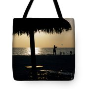 Beach Frisbee At Sunset On Marco Island Florida Tote Bag