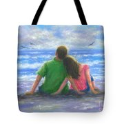 Beach Lovers Pink And Green Tote Bag
