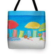 Beach Painting - Deck Chairs Tote Bag