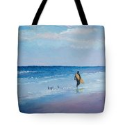 Beach Painting - The Lone Surfer Tote Bag