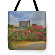Beach Roses And Cottages Tote Bag