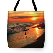 Beach Sunset And Cross Tote Bag