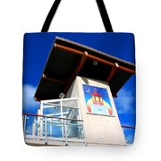 Beach Tower In Blue Sky Tote Bag