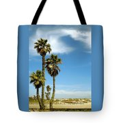 Beach View With Palms And Birds Tote Bag
