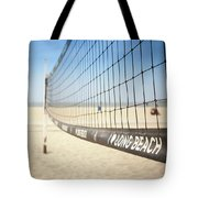 Beach Volleyball Net On The Sand At Long Beach, Ca Tote Bag