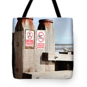 Beach Warning Tote Bag