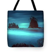 Beach With Sea Stacks In Moody Lighting Tote Bag