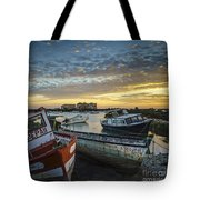 Beached Boats On Trocadero Pipe Puerto Real Cadiz Spain Tote Bag