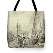 Beached Fishing Boats With Fishermen Mending Nets On The Beach At Brighton, Looking West Tote Bag