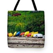 Beached Kayaks Tote Bag