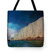 Beachy Head Lighthouse And Cliffs Tote Bag