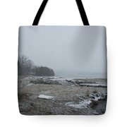Beals Cove During A Snow Storm Tote Bag