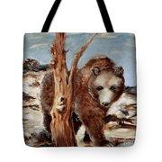 Bear And Stump Tote Bag