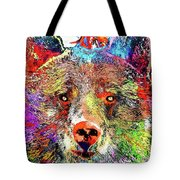 Bear Colored Grunge Tote Bag