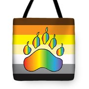 Bear Colors With Rainbow Paw Tote Bag