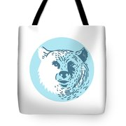 Bear Head Smiling Circle Drawing Tote Bag