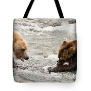 Bear Watches Another Eat Salmon In River Tote Bag