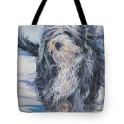 Bearded Collie In Snow Tote Bag