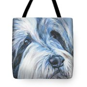 Bearded Collie Up Close In Snow Tote Bag