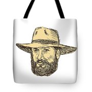 Bearded Cowboy Head Drawing Tote Bag