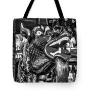 Bearded Dragon Ride Black And White Tote Bag