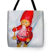 Bearded Elf On Skis Tote Bag