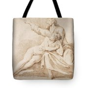 Bearded Man Embracing A Young Woman Tote Bag