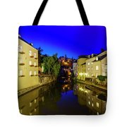 Beautiful Alzette River Side Scene On Road Rue Munster Tote Bag