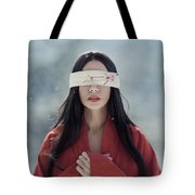Beautiful Asian Woman With Red Sensual Lips Standing In The Snow Tote Bag