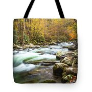 Beautiful Autumn Colors Little Pigeon River Smoky Mountains Tote Bag