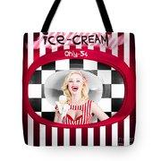 Beautiful Blonde Woman Serving Ice Cream Tote Bag