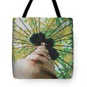 Beautiful Branches And Leaves Of Papaya Tree Along With The Tasty Exotic Fruit Fill The Frame Tote Bag