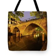 Beautiful Bridge Weesbrug Over The Old Canal In Utrecht At Dusk 220 Tote Bag