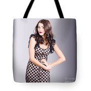 Beautiful Brunette Girl Wearing Retro Zipper Dress Tote Bag